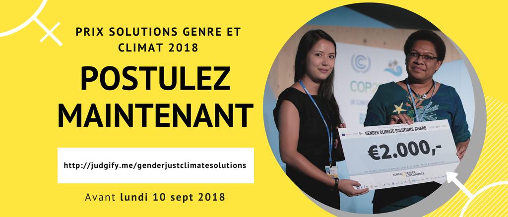 """Dossier de presse – Cérémonie de remise du Prix  """"Solutions Genre et Climat"""" 2018"""