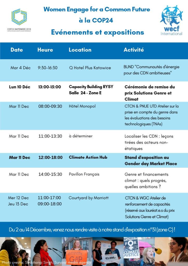 Programme des événements de la COP24