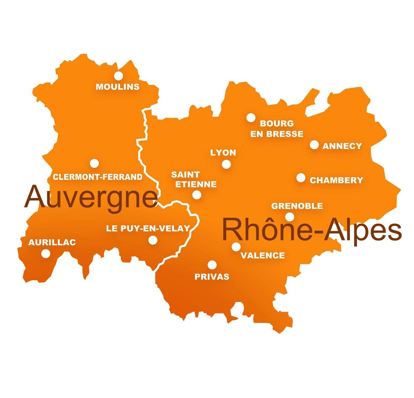 Carte de la Région Auvergne-Rhône-Alpes